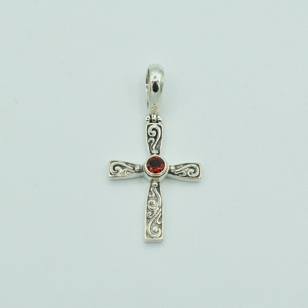 Garnet and Sterling Silver Cross Pendant