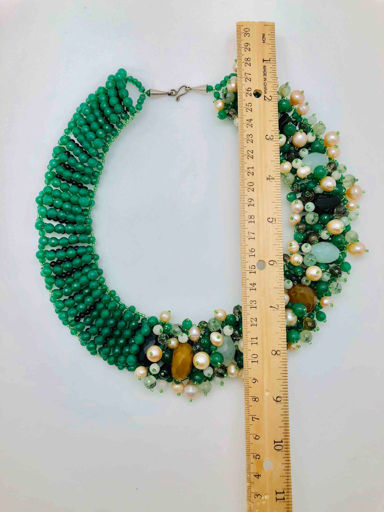 Green Agate, Fresh Water Pearl and Blue Topaz Statement Necklace