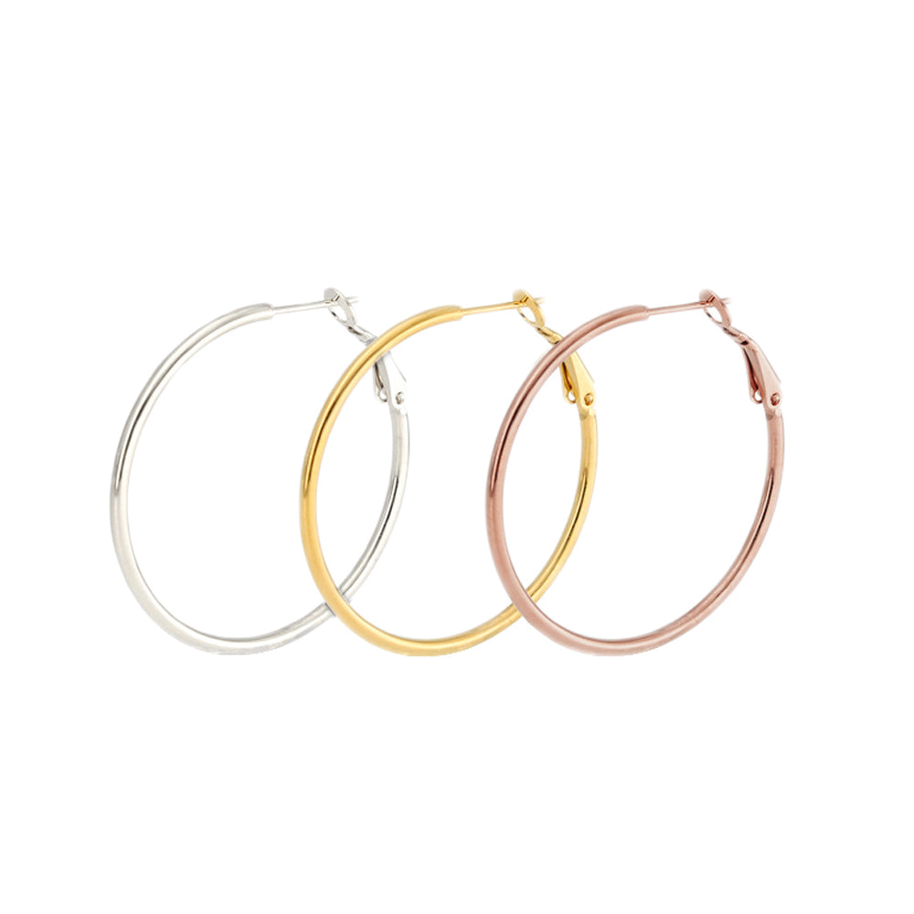 Stainless Steel Set of 3 Thin Hoop Earrings 30,40,50,60,or 70MM Silver, Gold and Rose Gold