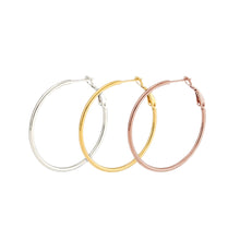 Load image into Gallery viewer, Stainless Steel Thin Hoop Earrings. 30mm, 40mm, 50mm, 60mm, 70mm. Plus a free multi colored Stainless Steel hoop earring.  This is a set of 3, Yellow gold plated, Rose gold Plated, Stainless steel and the free multi colored hoop. Set of 3 plus a free multi colored plated pair