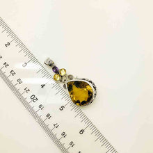 Load image into Gallery viewer, Lemon Quartz and Amethyst Sterling Silver Pendant