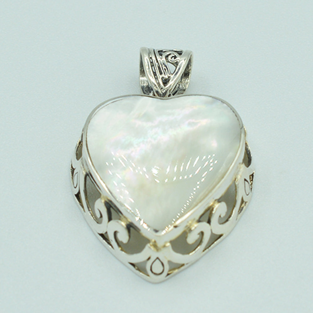 Mother of Pearl and Sterling Silver Heart Pendant