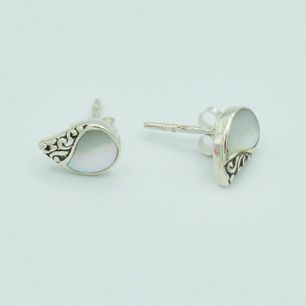 Mother Of Pearl and Sterling Silver Stud Earrings