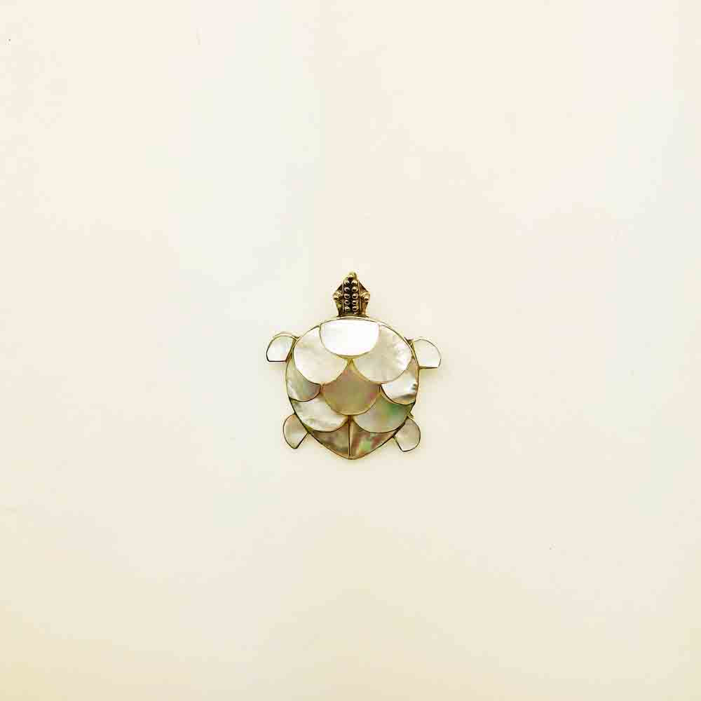 Mother of Pearl Turtle Pendant OR Turtle Pin