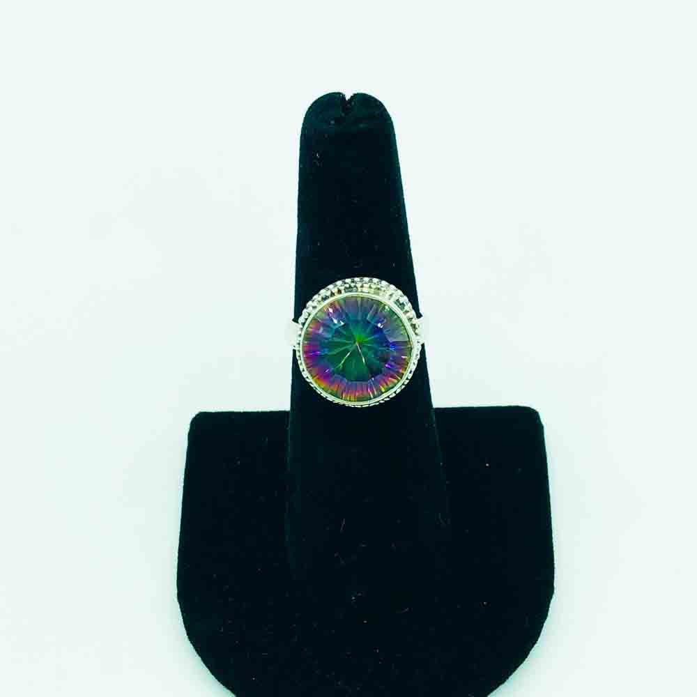 Mystic Topaz and Sterling Silver Ring-size 6.5