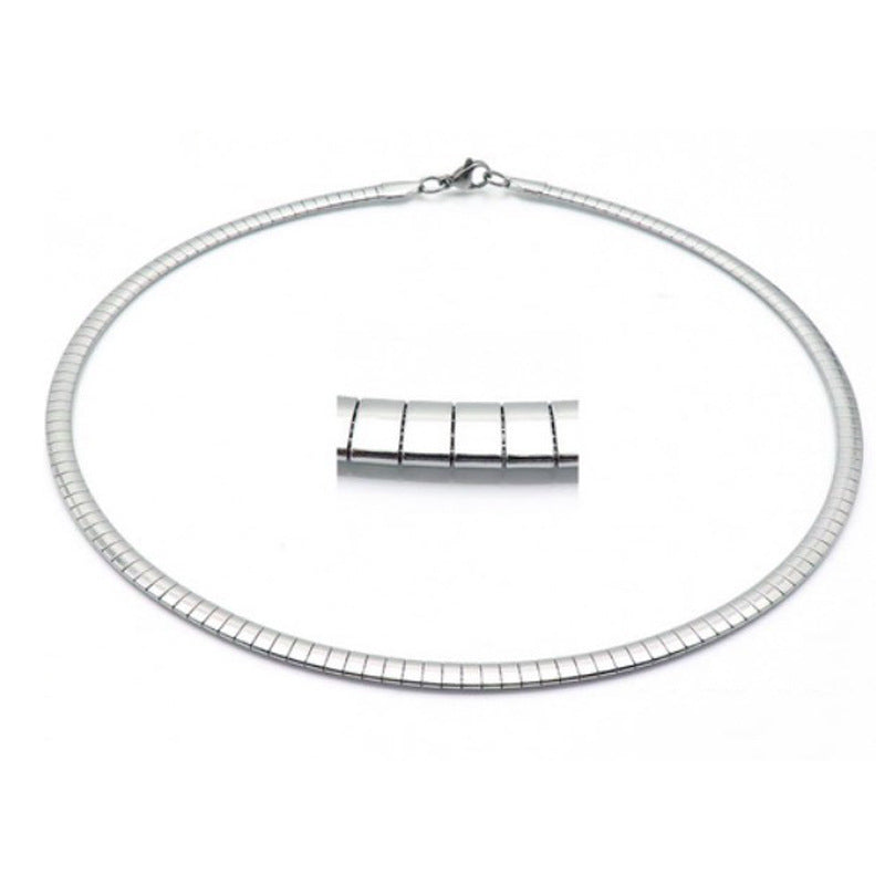 "Stainless Steel Omega Necklace - 4MM to 8MM 16"" or 18"""