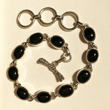 Load image into Gallery viewer, Oval Onyx Silver Bracelet-cabochon Set in Sterling Silver one of a kind