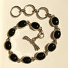 Oval Onyx Silver Bracelet-cabochon Set in Sterling Silver one of a kind