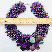 Load image into Gallery viewer, Purple Agate Statement Necklace