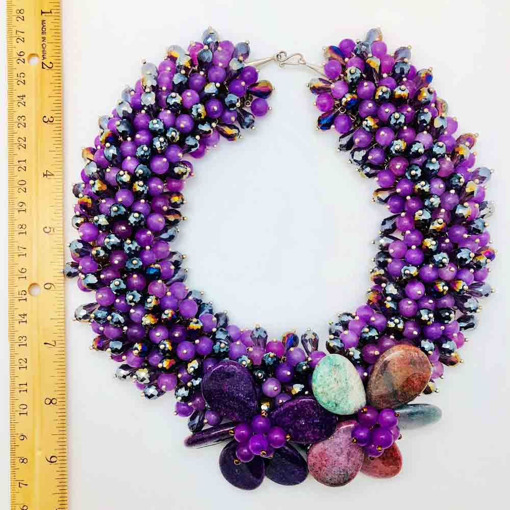 Purple Agate Statement Necklace