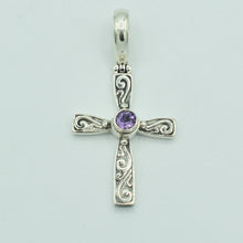 Load image into Gallery viewer, Sterling Silver and Amethyst Cross Pendant
