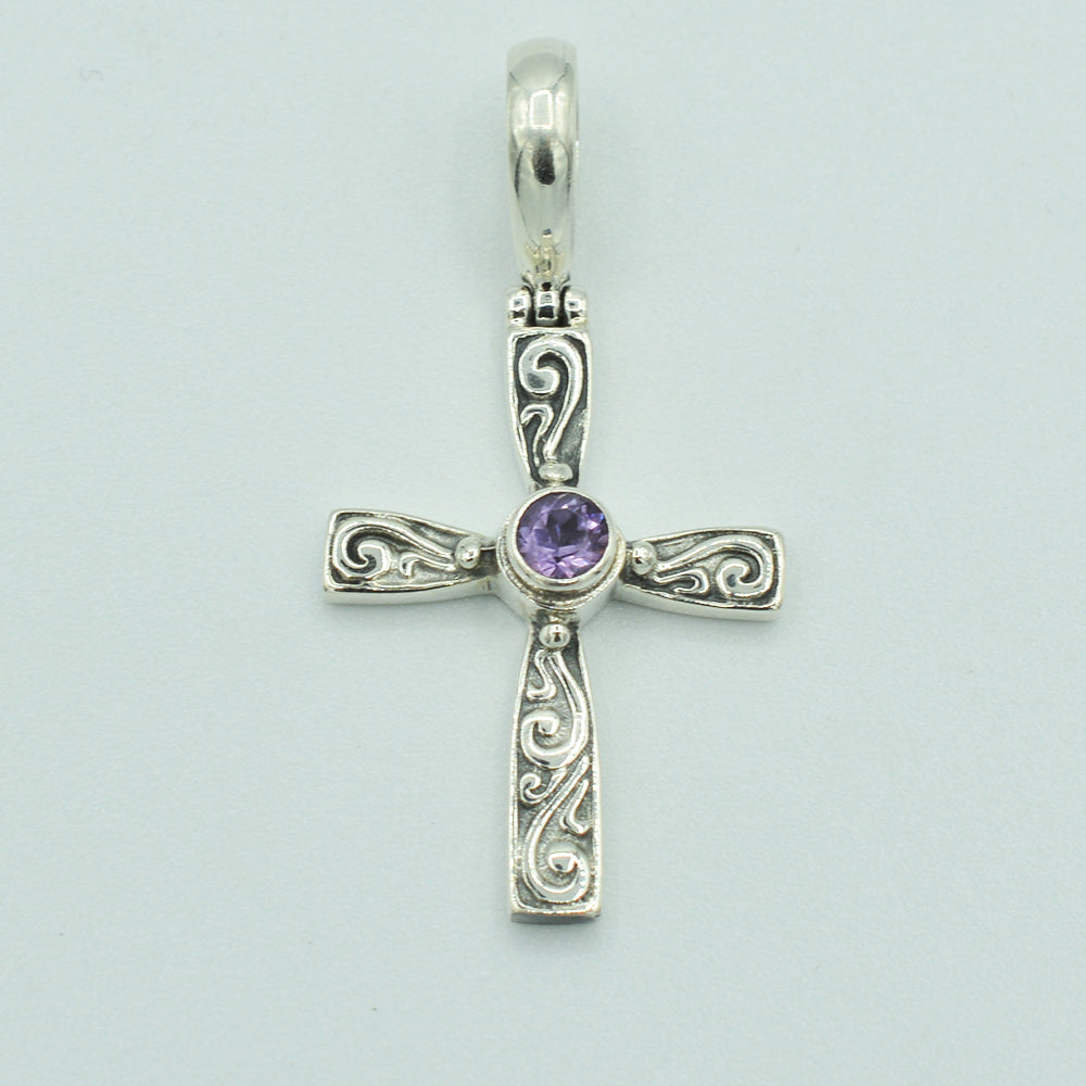 Sterling Silver and Amethyst Cross Pendant