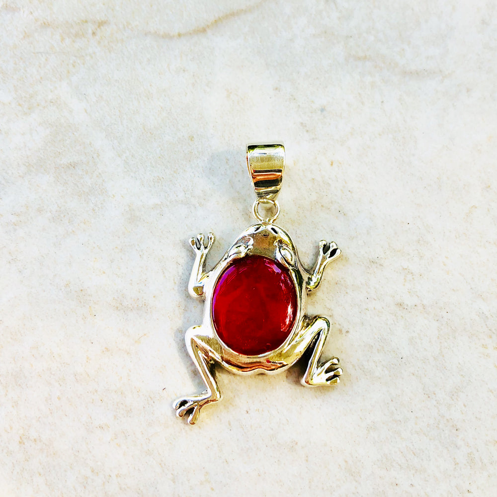 Red Coral Sterling Silver Frog Pendant