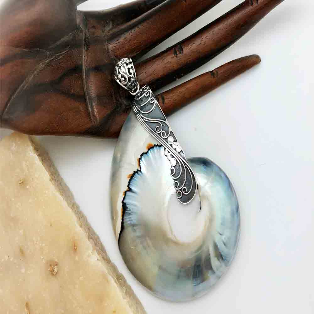 Sterling Silver and Snail Shell Pendant