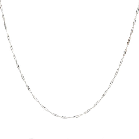 2MM Sterling Silver Singapore Chain with Spring Ring Clasp