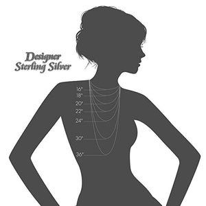 "Silhouette of a woman wearing chains and showing where chains fall. An example, a 16"" chain is for a very thin woman."