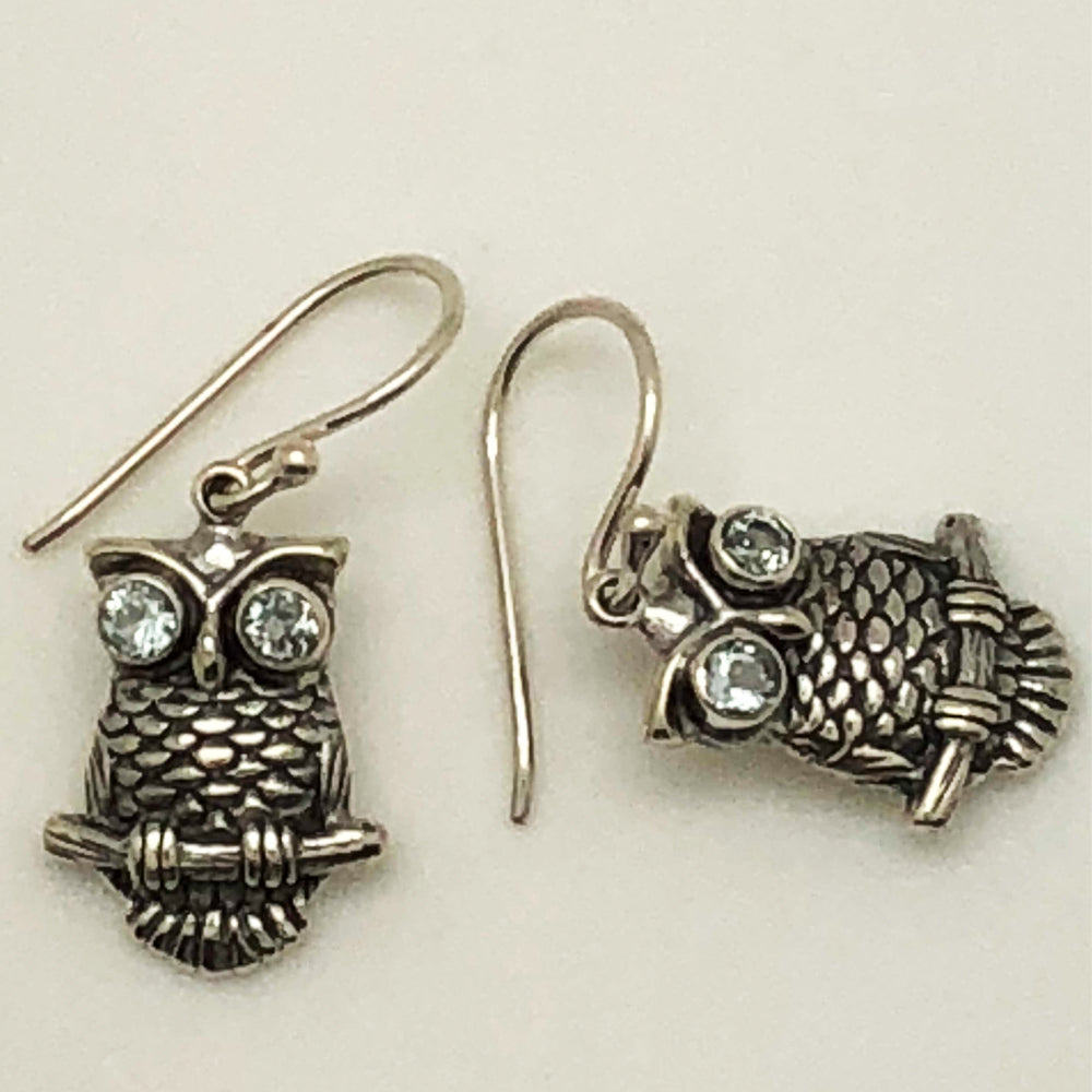 Sterling Silver with Blue Topaz Owl Earrings