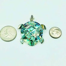 Load image into Gallery viewer, Abalone Sterling Silver Turtle Pendant or Pin/Brooch, 1 and a quarter inch . Beautiful natural greens and blues. You can wear this on any chain and also pin it to a suit or on a scarf. Pictured next to a dime and a quarter. It is larger than a quarter.
