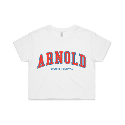 2020 Arnold College Crop Tee - White