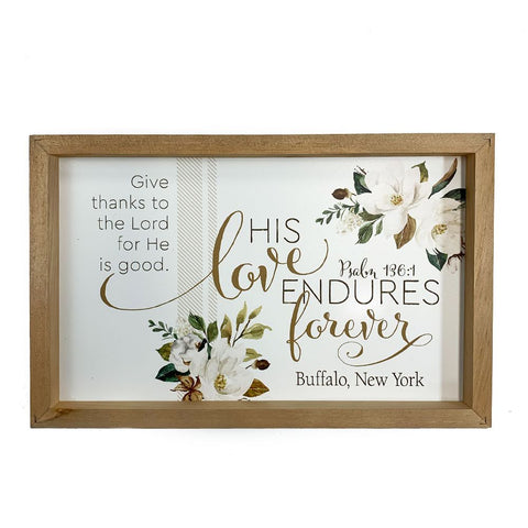 """His Love Endures Forever"" Wooden Sign"