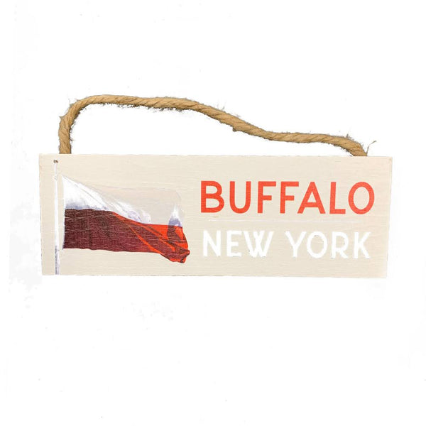 Waving Polish Flag Buffalo NY Wooden Sign
