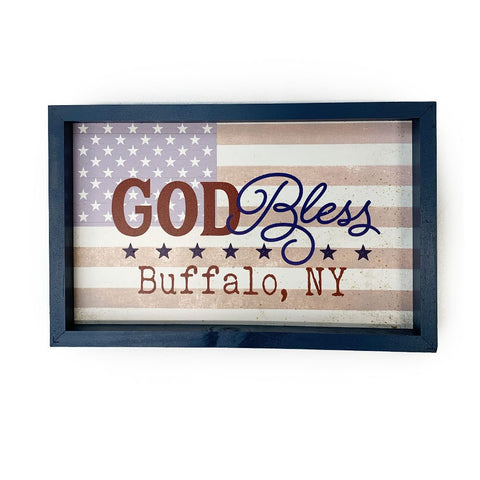 """God Bless Buffalo, NY"" Wooden Sign"