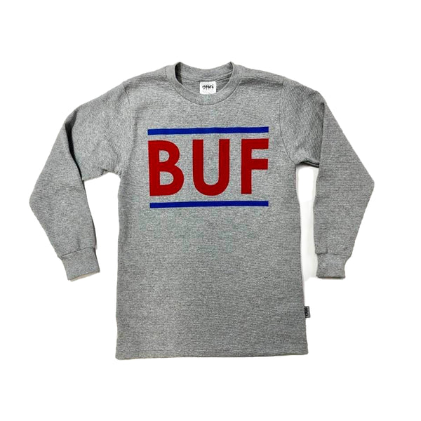 BUF Heather Grey Heavyweight Waffle Knit Crewneck