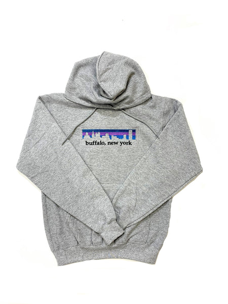 Grey Hooded Fleece with Buffalo Skyline