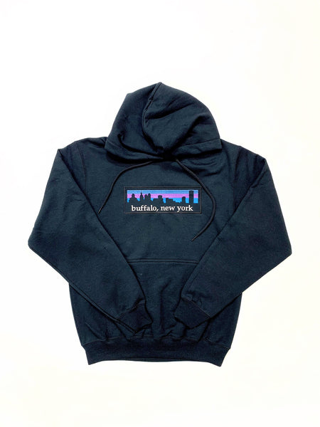 Black Hooded Fleece with BFLO Skyline