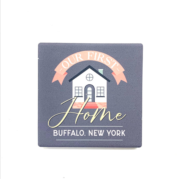 """Our First Home"" Ceramic Coaster"