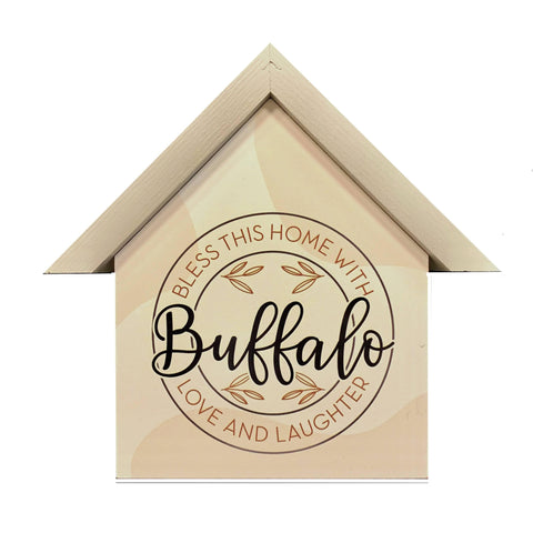 """Bless this Buffalo Home with Love and Laughter"" Wooden Sign"