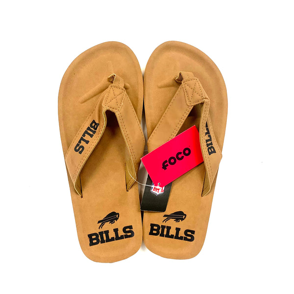 Men's Buffalo Bills Tan Contour Flip Flops