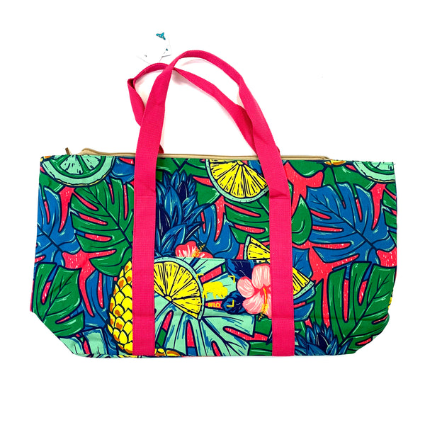 """Tropic Like it's Hot"" Canvas Beach Bag"