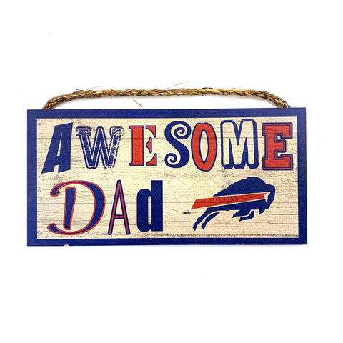 """Awesome Dad"" Buffalo Bills Wooden Sign"