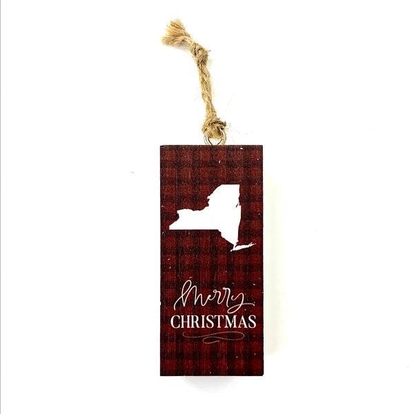 """Merry Christmas"" NY Wooden Ornament"