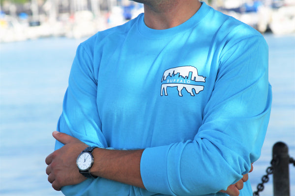 BFLO Aquatic Blue Skyline Long Sleeve Tee