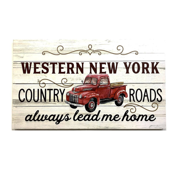 """WNY Country Roads"" Wooden Sign"