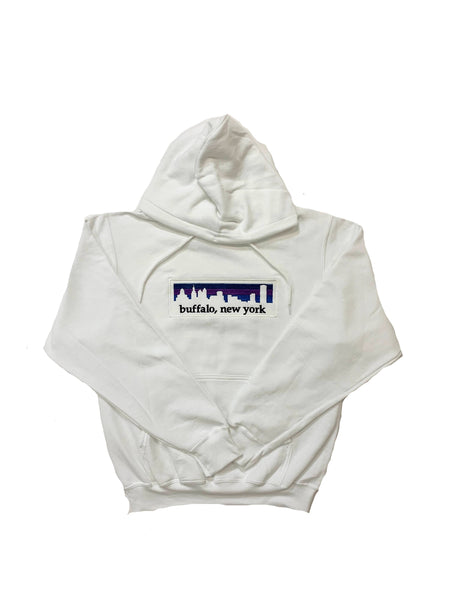 White Hooded Sweatshirt with BFLO Skyline