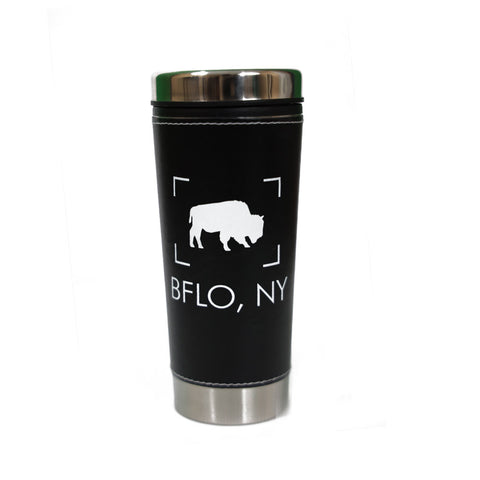 BFLO Black Leather Travel Mug