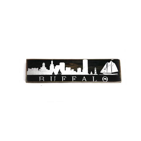 BFLO Skyline Rustic Wooden Sign