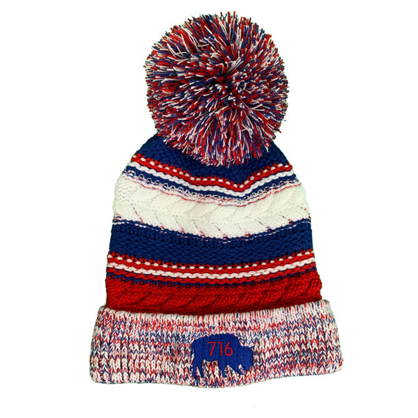 Blue & Red Pom Pom Beanie