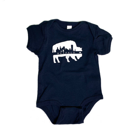 Navy Onesie Buffalo with White Skyline