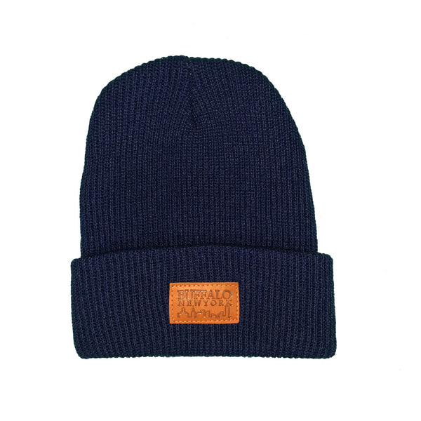 Navy & Leather Patch Beanie