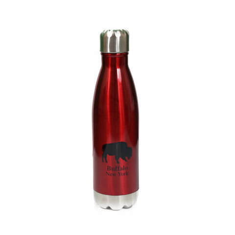 Red Buffalo NY Stainless Steel Vacuum Bottle
