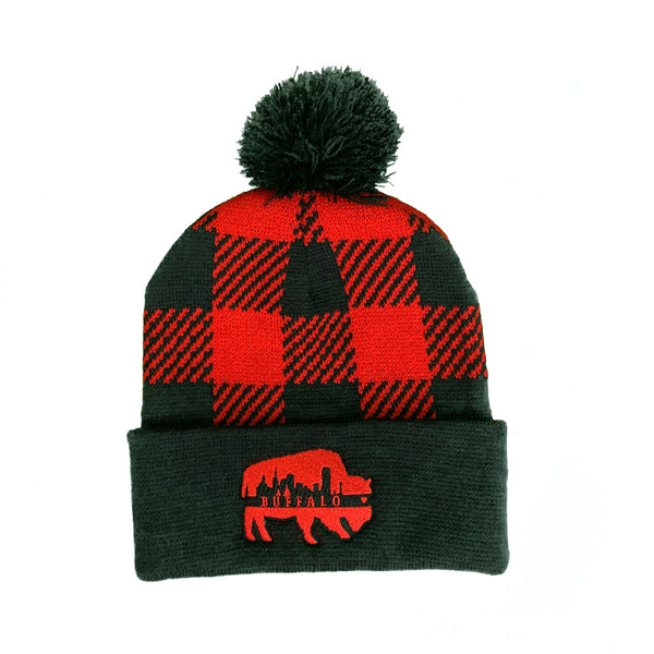 Buffalo Plaid Knit Pom Pom Beanie