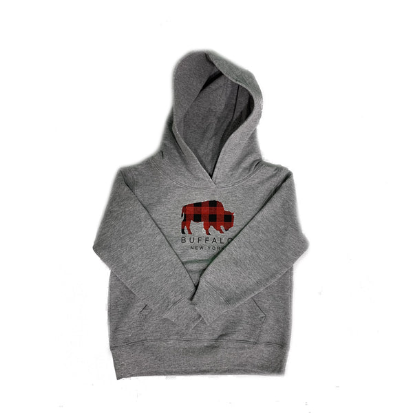 Buffalo Plaid Toddler Heather Grey Hoodie