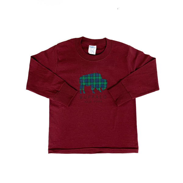 Youth Maroon Blackwatch Plaid LST