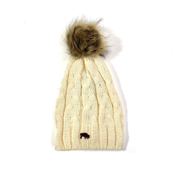 Cable Knit Faux Fur Pom Pom Beanie