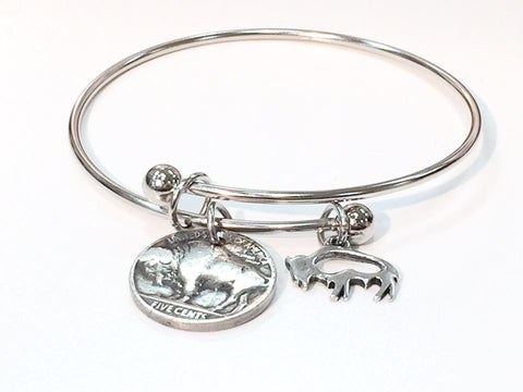 Buffalo Nickel Bangle w/ charm
