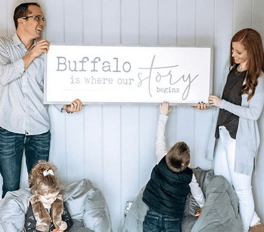 """Buffalo is Where Our Story Begins"" Wooden Sign"